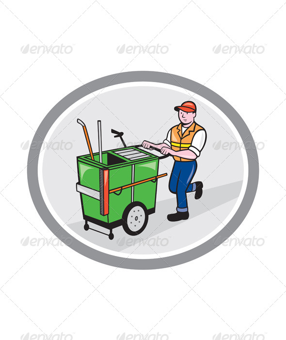 GraphicRiver Street Cleaner Pushing Trolley in Oval 7823354