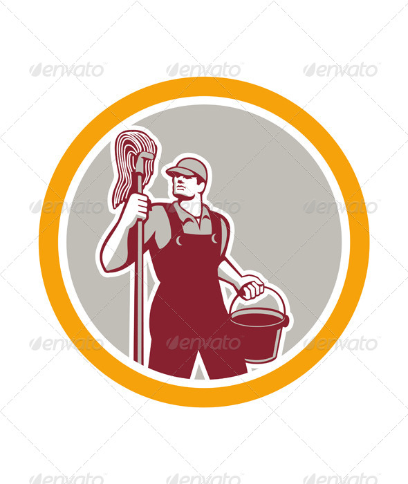 GraphicRiver Janitor Holding Mop and Bucket in Circle 7823355