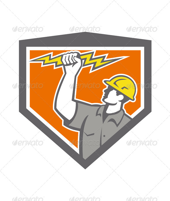 GraphicRiver Electrician Wielding Lightning Bolt Crest 7823377