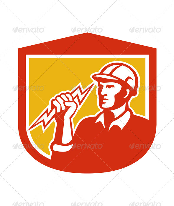 Electrician with Lightning Bolt in Shield