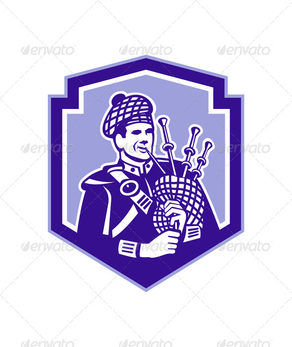 GraphicRiver Scotsman Playing Bagpipes Retro Shield 7823407