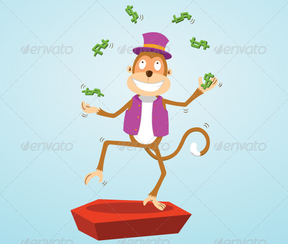 GraphicRiver Monkey Juggling Money 7823417