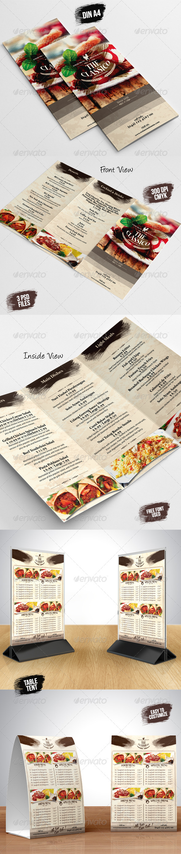 GraphicRiver TriFold A5 Table Tent Menu 7823574