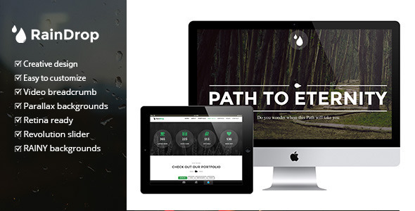 ThemeForest RainDrop A One and Multi Page Rainy Theme 7823707