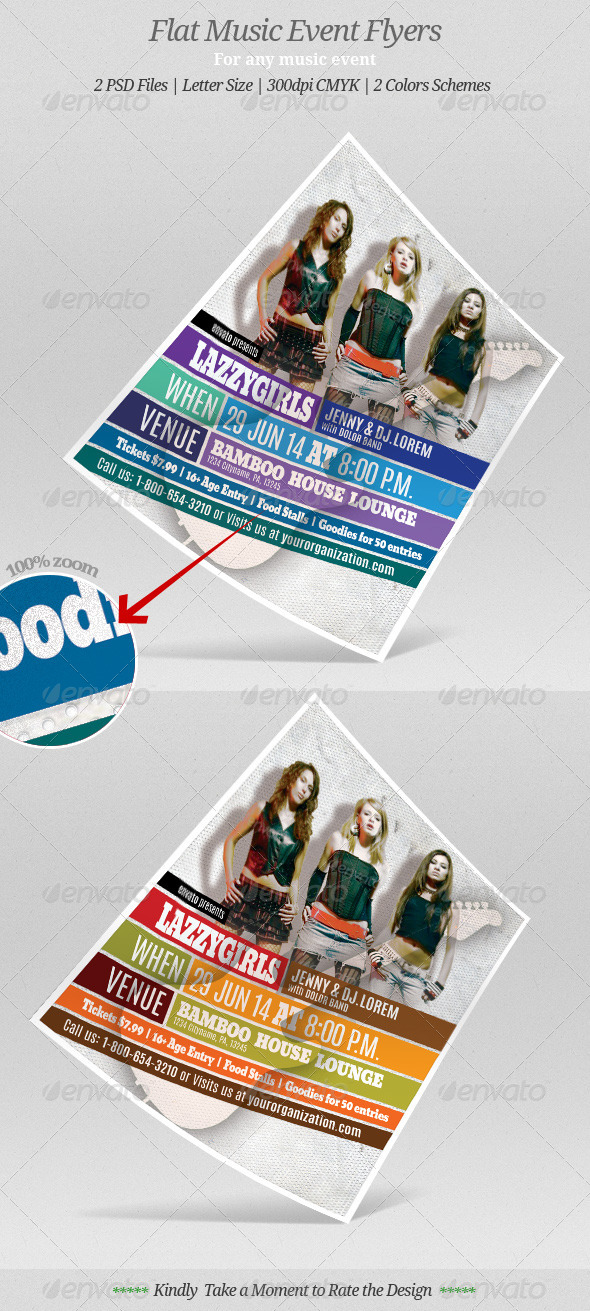 GraphicRiver Flat Music Event Flyer or Poster 7768157