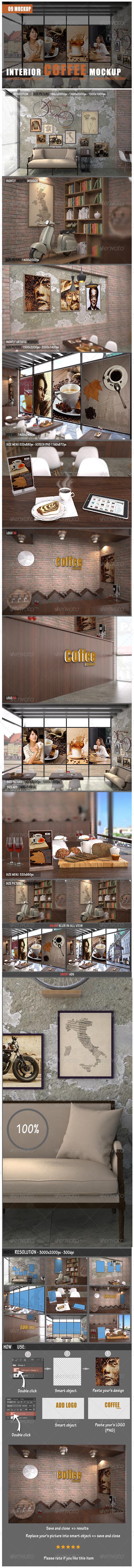 GraphicRiver Interior Coffee Mockup 7805640