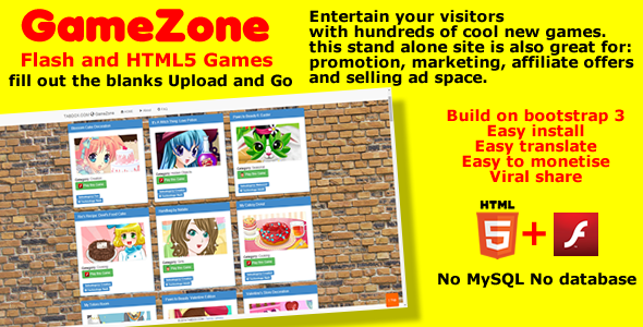 CodeCanyon GameZone Flash and HTML5 stand alone game site 7787579