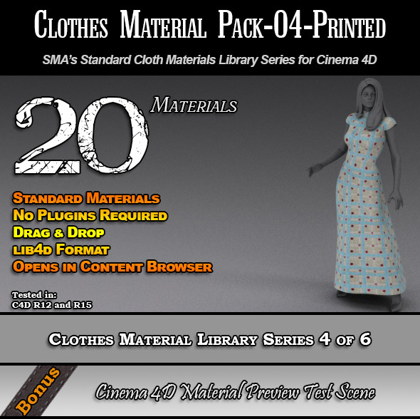 3DOcean Standard Clothes Material Pack-04-Printed for C4D 7824373