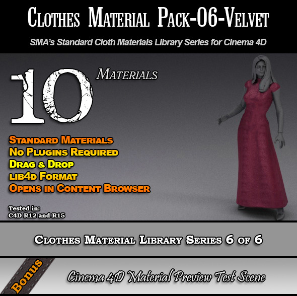 Standard Clothes Material Pack-06-Velvet for C4D - 3DOcean Item for Sale