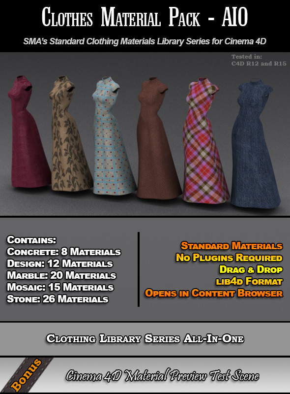 Standard Clothes Material Pack-AIO for Cinema 4D - 3DOcean Item for Sale