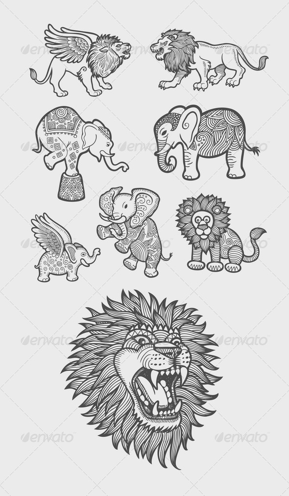 Lion and Elephant Decoration Sketch