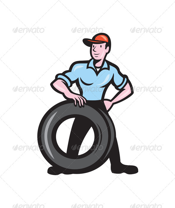 GraphicRiver Tireman Mechanic With Tire 7824856