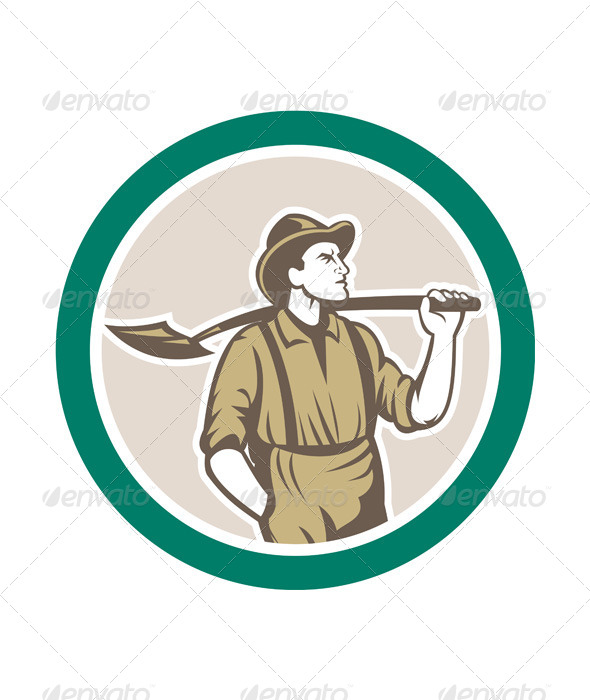 GraphicRiver Prospector With Shovel in Circle 7824880
