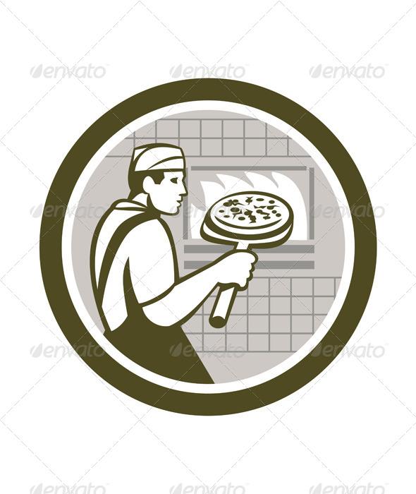 GraphicRiver Pizza Maker in Circle 7824882