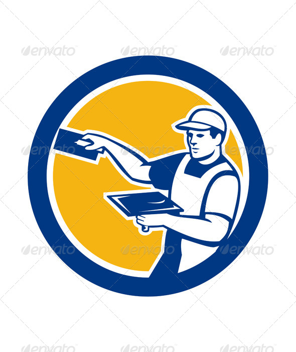 GraphicRiver Plasterer With Trowel in Circle 7824885