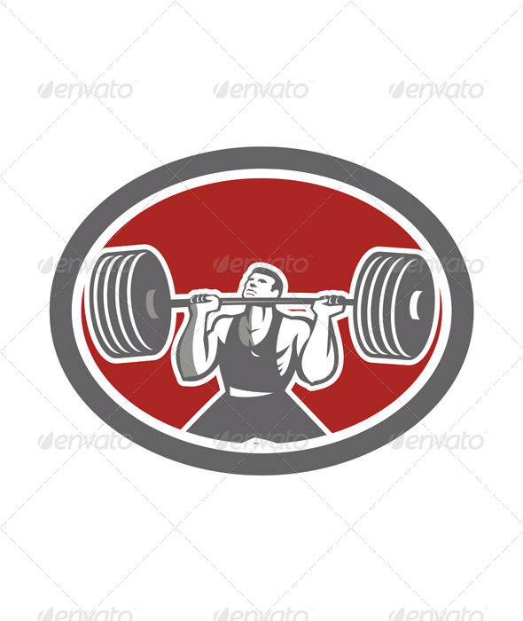 GraphicRiver Weightlifter Lifting Barbell in Oval 7824967