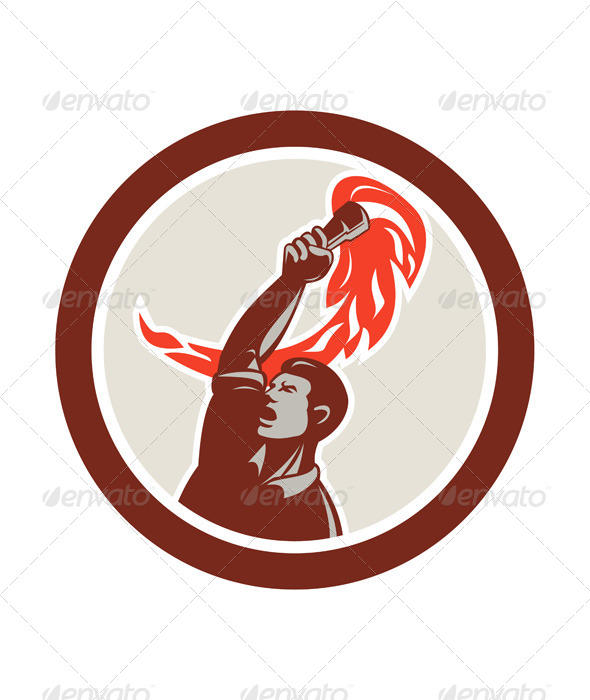 GraphicRiver Worker Holding Up Flaming Torch in Circle 7824971