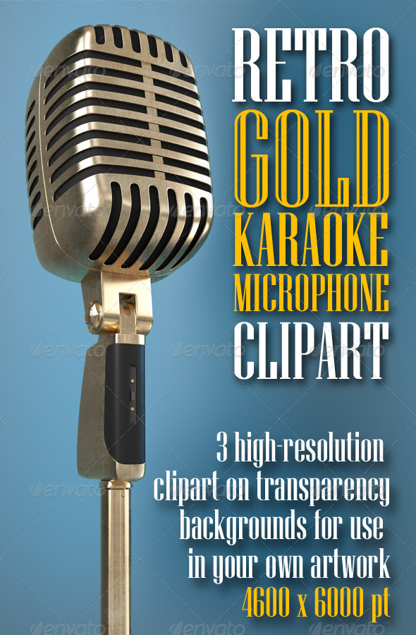 GraphicRiver Karaoke Retro Microphone clipart 7824991