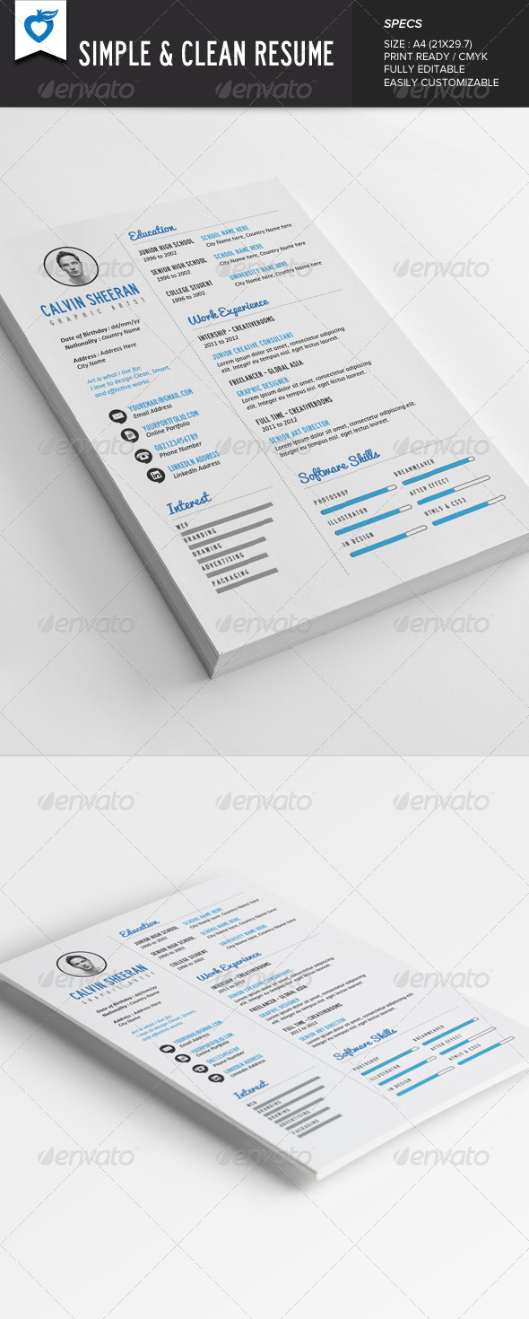 GraphicRiver Simple & Clean Resume 7814103