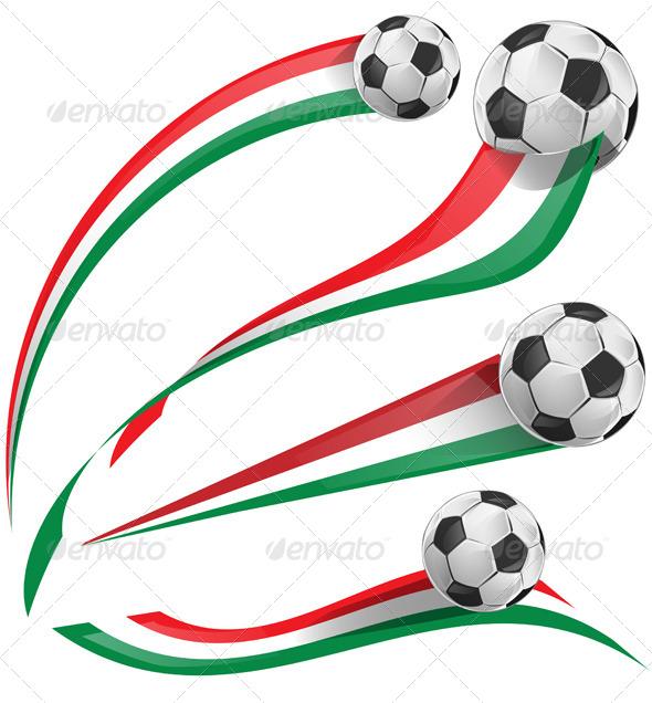 Italian Flag Set with Soccer Ball