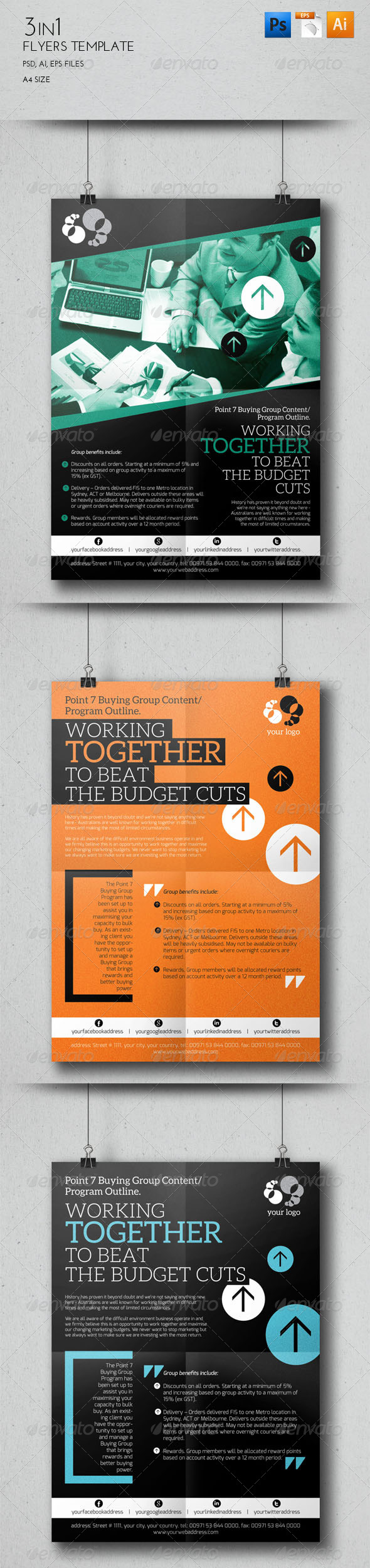 GraphicRiver 3 in 1 Flyers Template 7791137