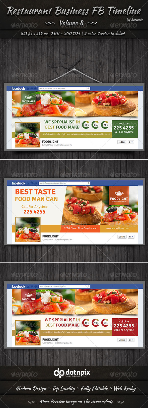 GraphicRiver Restaurant Business FB Timeline Volume 8 7826813