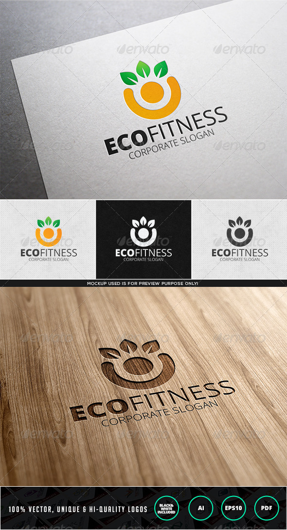 Eco Fitness Logo Template