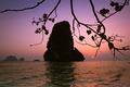 Sunset at tropical beach landscape. Pranang cave beach, Railay, Krabi, Thailand