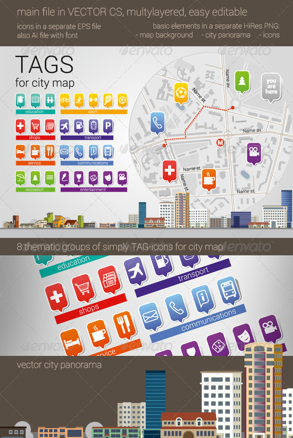 GraphicRiver City Map Tag-Icons 7827192