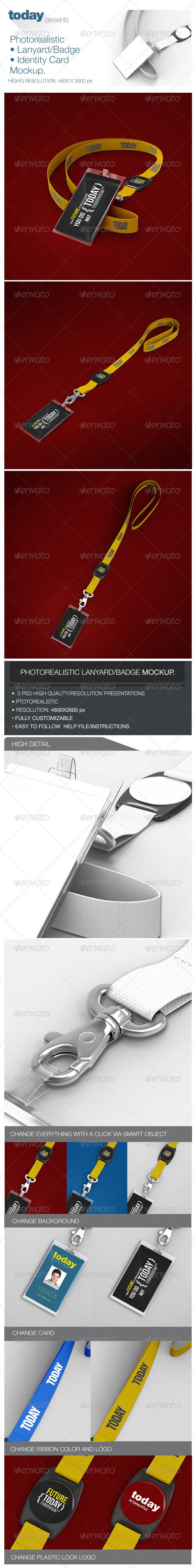 GraphicRiver Photorealistic Lanyard Badge Mockup 7827353