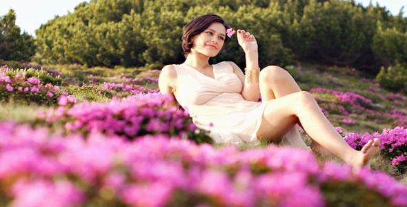 Girl Enjoys Fresh Flowers Perfume