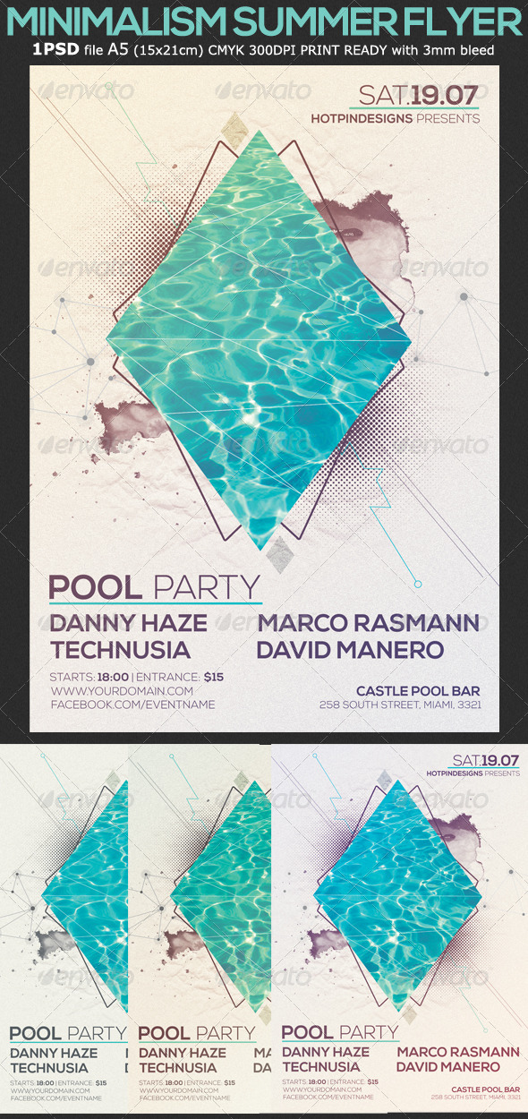 GraphicRiver Minimalism Summer Pool Party Flyer 7827678