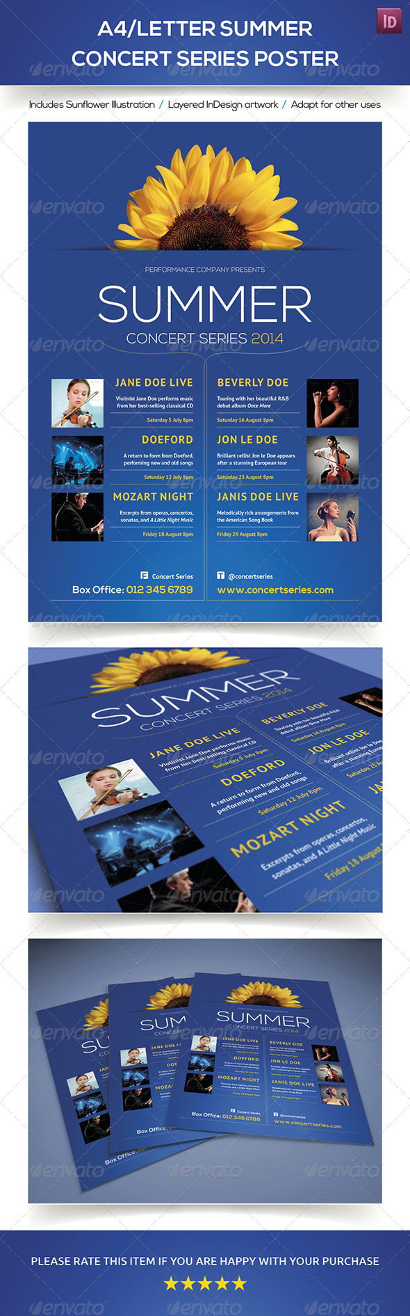 GraphicRiver A4 Letter Summer Concert Series Poster 7827727