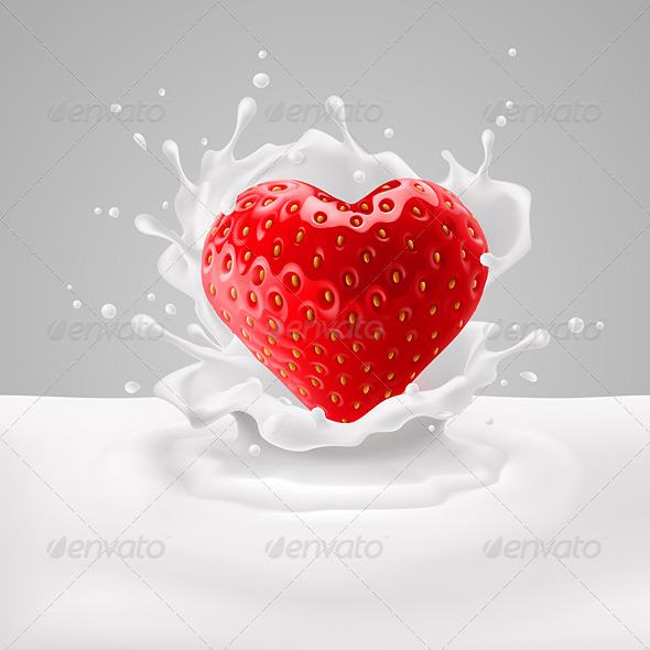 GraphicRiver Strawberry Heart with Milk 7827832