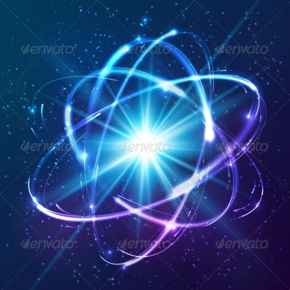 GraphicRiver Shining Neon Lights Atom Model 7827942