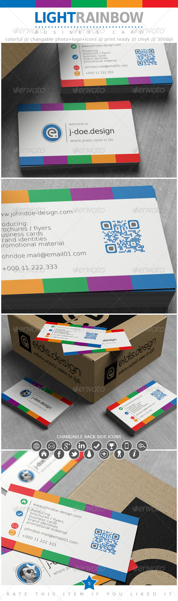 Light Rainbow Business Card - Corporate Business Cards