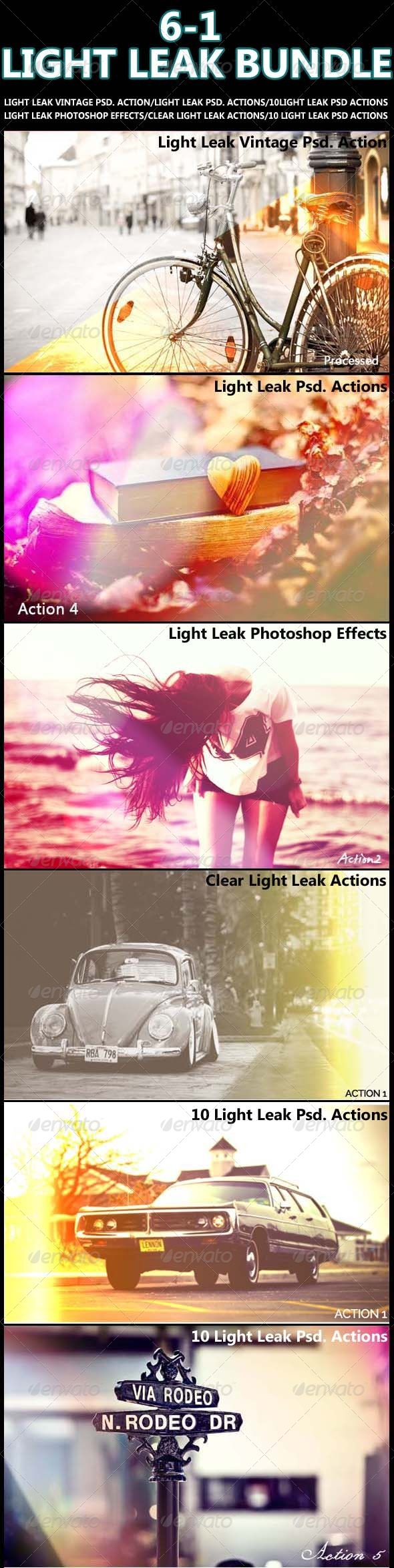 GraphicRiver 6-1 Light Leak Photoshop Actions Bundle 7828368