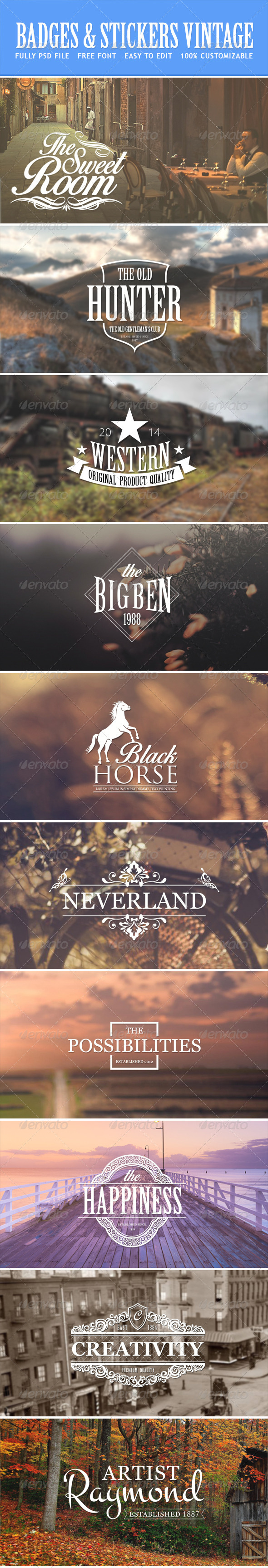 GraphicRiver Badges Stickers Vintage 7828480