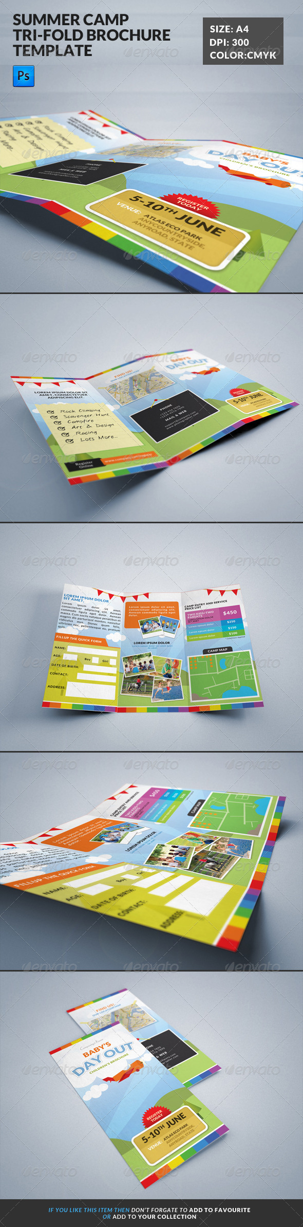 GraphicRiver Summer Camp Kids Tri-Fold Brochure 7828664