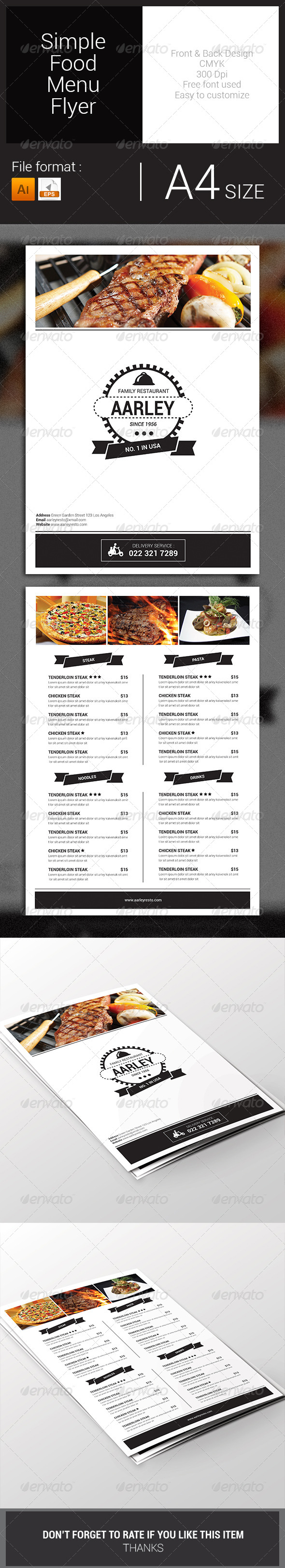 GraphicRiver Simple Food Menu Flyer 7828768