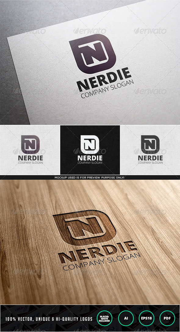 Nerdie Logo Template - Letters Logo Templates