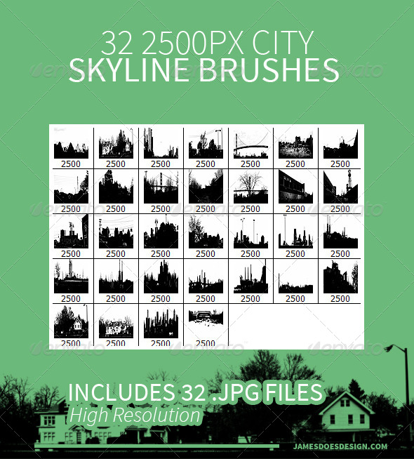 GraphicRiver 32 City Skyline Brushes 7829450