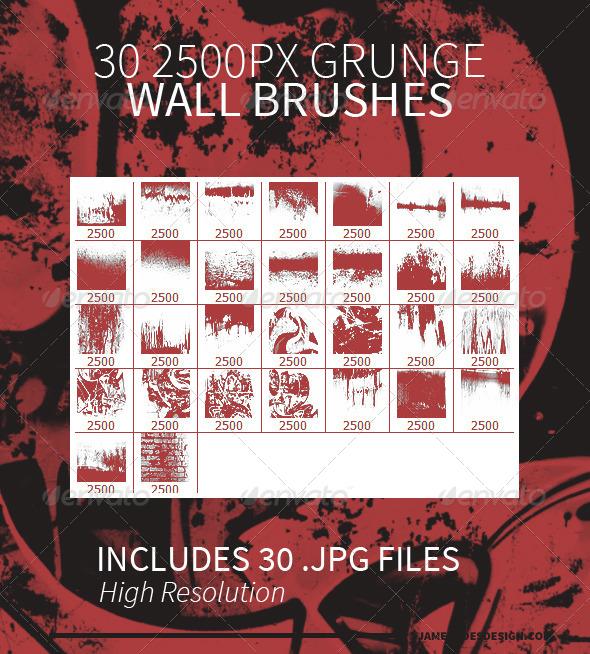 30 Grunge Wall Photoshop Brushes