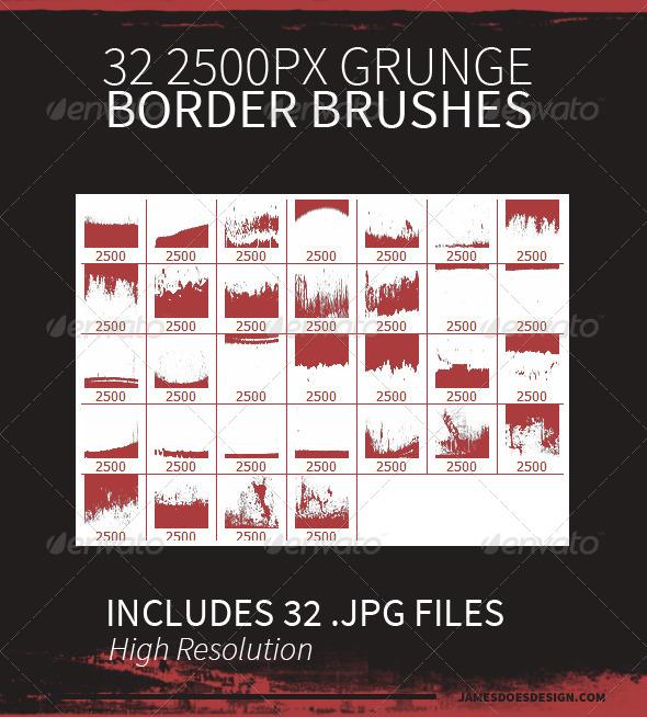 GraphicRiver 32 Grunge Border Brushes 7829465