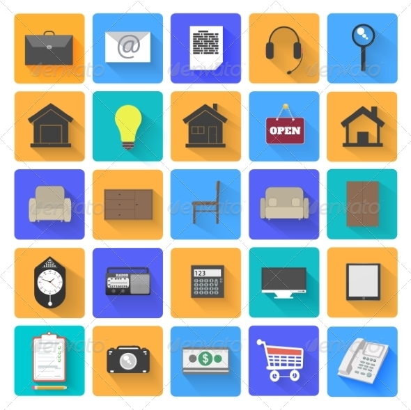 GraphicRiver Set of Office and Business Work Elements 7829687