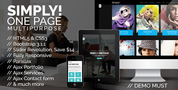 Simply One Page Multi-purpose HTML Template - Creative Site Templates