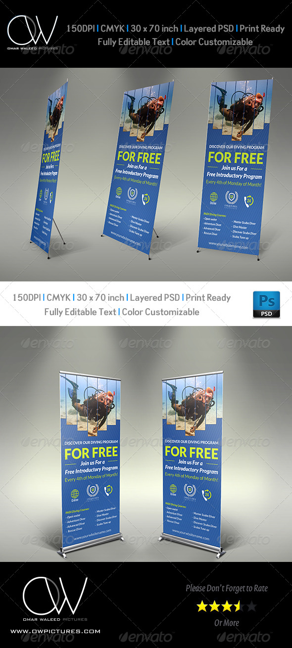 GraphicRiver Diving Signage Roll-Up Template 7830007