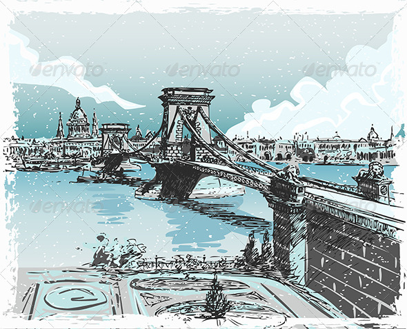 GraphicRiver Vintage Hand Drawn View of Lions Bridge in Budapes 7830047