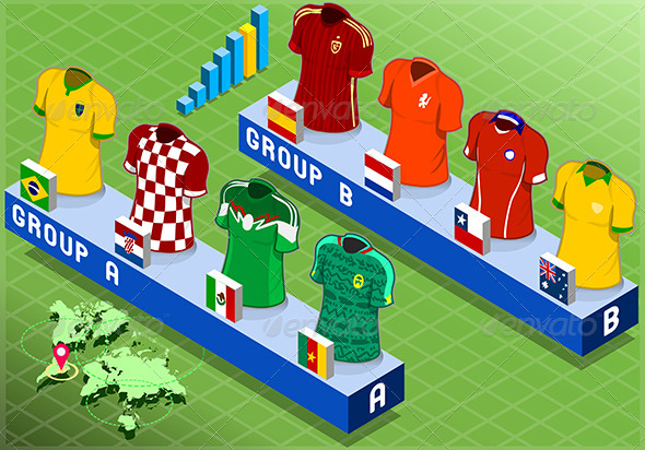 GraphicRiver Isometric Nations Groups for Soccer World Cup 7830109