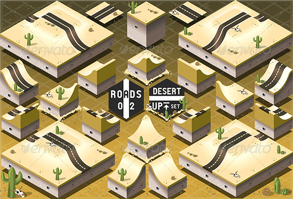 Isometric Roads on Two Levels Desert Terrain